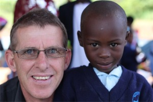 Pete and a mate at the school opening at Kituso