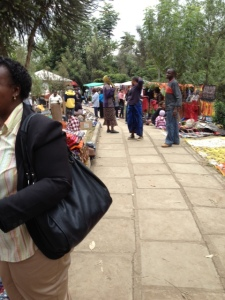 There are both locals and tourists at the market