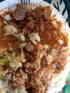 My $2.50 lunch - beef stew, rice and cabbage.