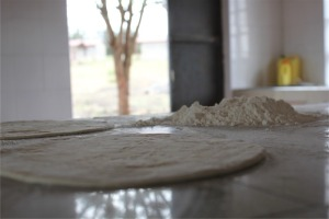 Chapati before it is cooked.
