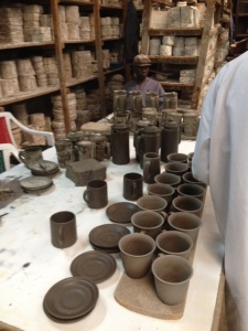The cups before they are fired.