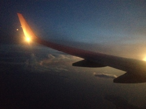 The sunrise coming into Melbourne.