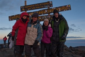 At the top of Mt Kilimanjaro, Tanzania.