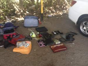 This is how the police put out the few belongings they recovered. Notice all the Mac products were missing...