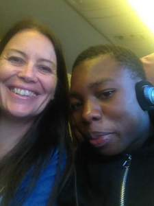 Me with Sam on his very first flight of his life.