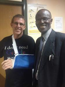 Dr. Atinga repaired Pete's broken leg 4 years ago. Now he's done the arm.
